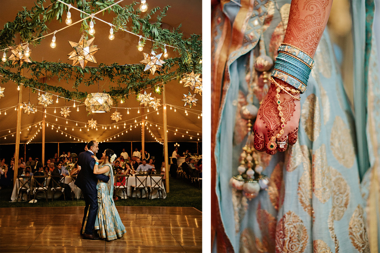 Indian fusion summer wedding reception at a private residence under a Sperry tent featuring a greenery overhead feature and stars on the dance floor by Nashville wedding planner and designer Sage Nines Event Production