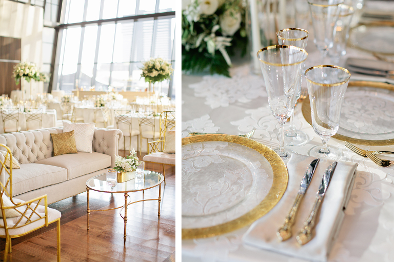 Classic and elegant white wedding reception at the country music hall of fame with gold rimmed glassware, chargers and gold flatware wedding by Nashville wedding planner and designer Sage Nines Event Production