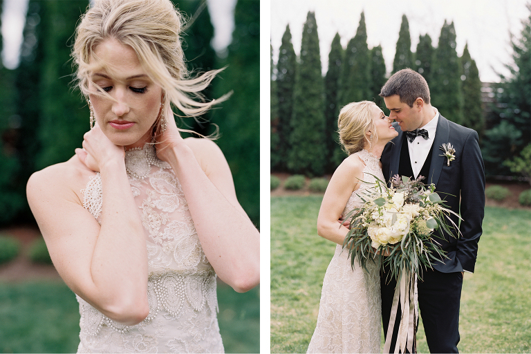 Gorgeous spring bride wearing a classic Claire Pettibone wedding gown and carrying a loose organic bouquet steals a snuggle from her handsome groom at The Cordelle wedding by Nashville wedding planner and designer Sage Nines Event Production